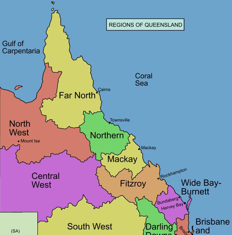 Map, QLD regions.